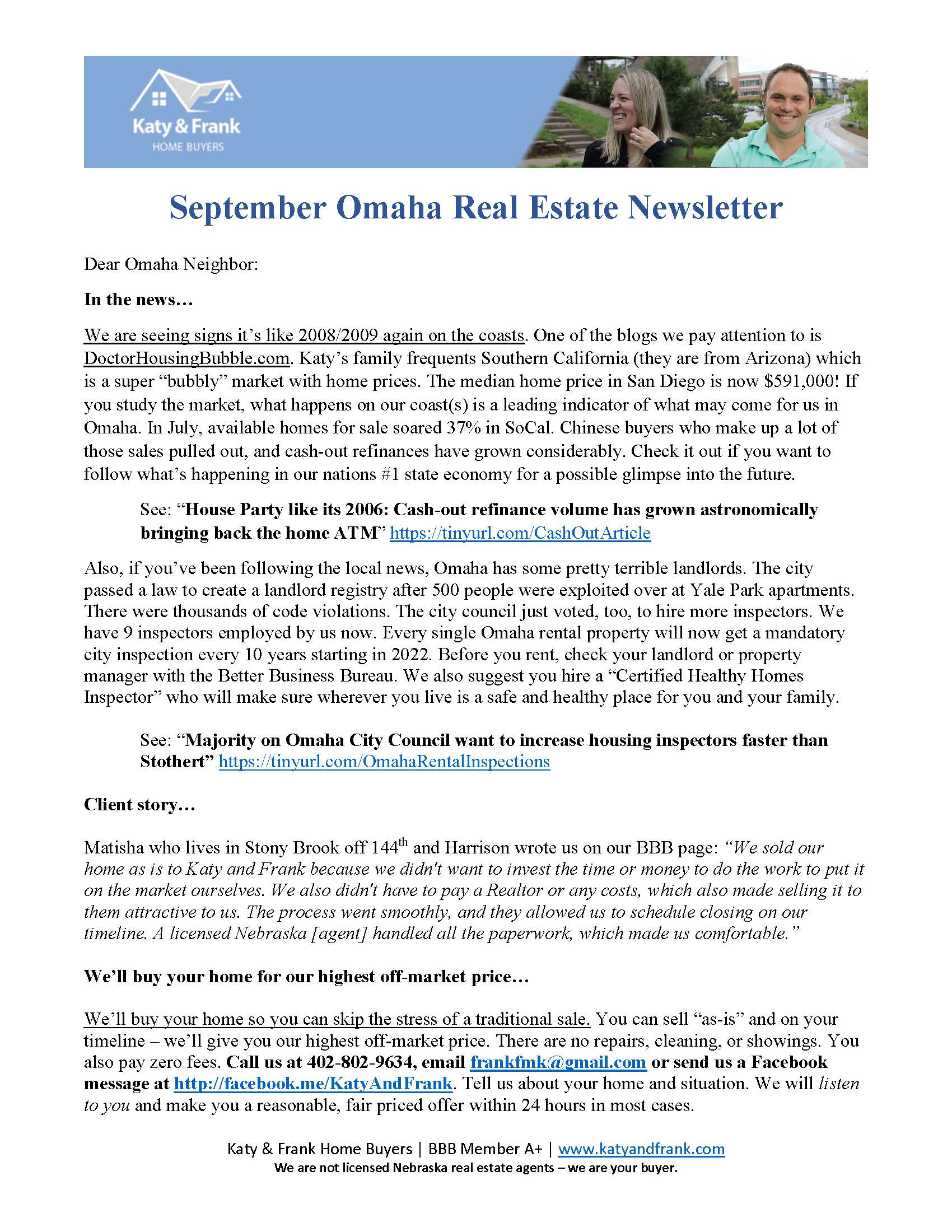 Example Real Estate Agent Print Newsletter