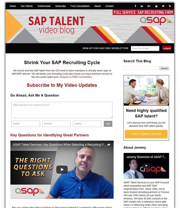 Example Talent Recruiter Video Blog
