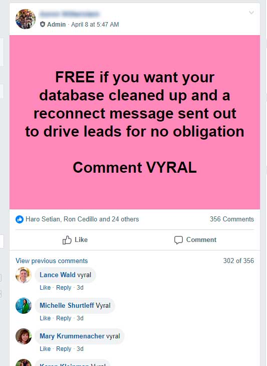 Facebook post with 356 comments without much results