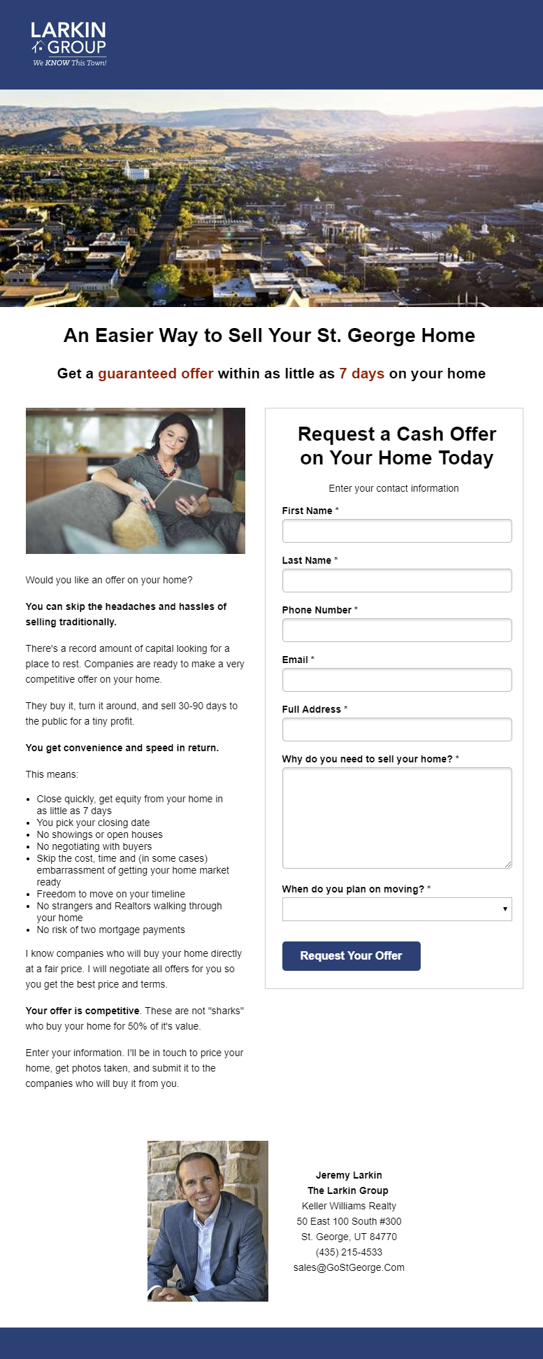 Example guaranteed offer landing page