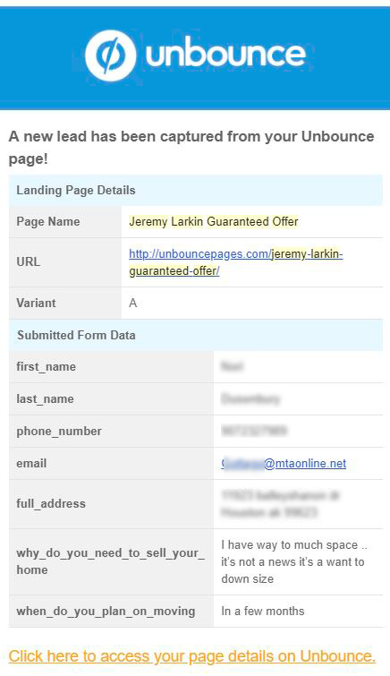 Example home offer lead generation email